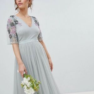 NWT ASOS Maya Embellished Tulle Maxi Dress Sz 8P